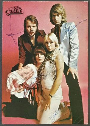 ABBA Fully Signed Postcard by Agnetha, Bjorn, Benny & Anni-Frid