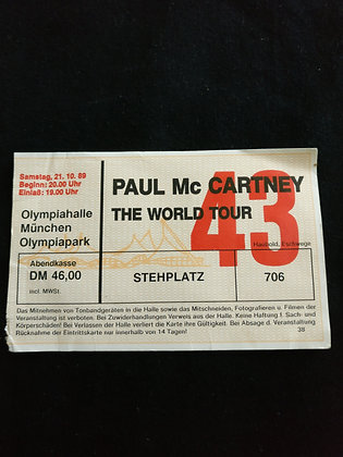 Paul McCartney 1989 Munich Ticket