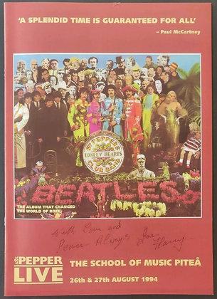 Joe Flannery Signed Sgt. Pepper Live Programme - School Of Music Piteå - 1994