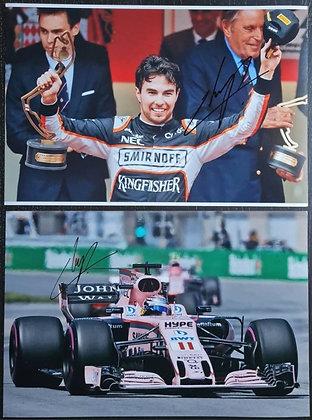 Sergio Perez Signed Photos (x2) - Formula One, Sahara Force India