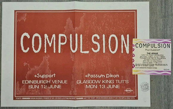 Compulsion Promo Poster & Ticket from Edinburgh, 1994