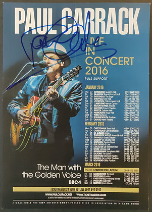 Paul Carrack Signed Tour Flyer with COA