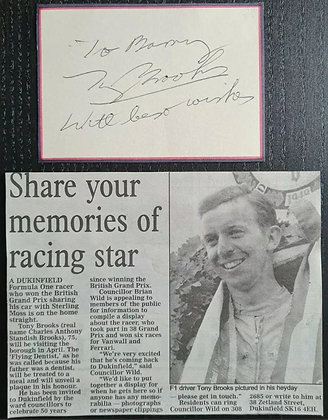 Tony Brooks Signed Card + Newspaper Cutting - Formula One Driver 1950/60s