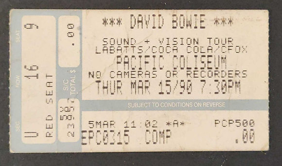 David Bowie 1990 Pacific Coliseum Ticket
