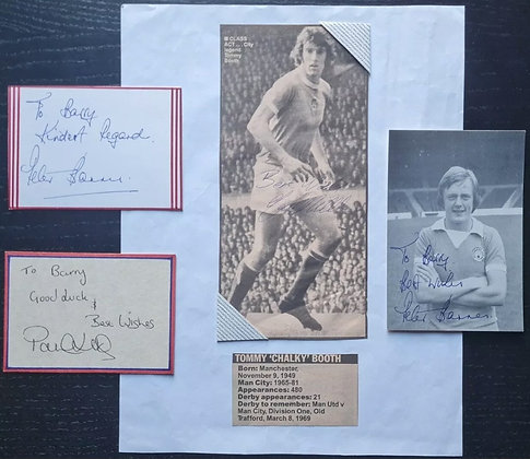 Peter Barnes, Paul Lake & Tommy Booth Signed Cards/Cutting - Manchester City FC