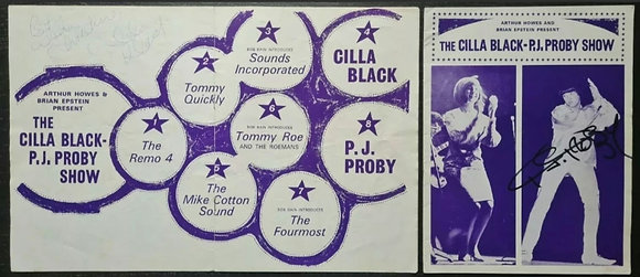 The Cilla Black - P.J. Proby Show Signed Programmes (x2) - 1965 - Brian Epstein