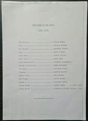 Doctor Who Original Script Pages (X19) - Pip & Jane Baker - Mark of the Reni EP1