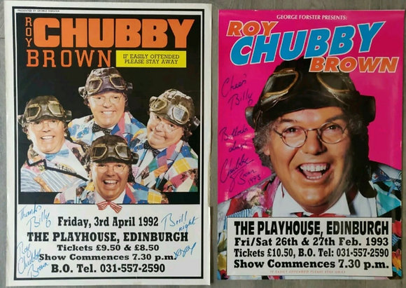 Roy Chubby Brown Signed Posters (X2) from Edinburgh Playhouse 1992 + 1993