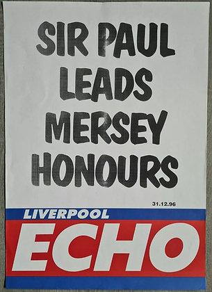Liverpool Echo Headline/Billboard Poster - Dec 1996 - Paul McCartney, Beatles