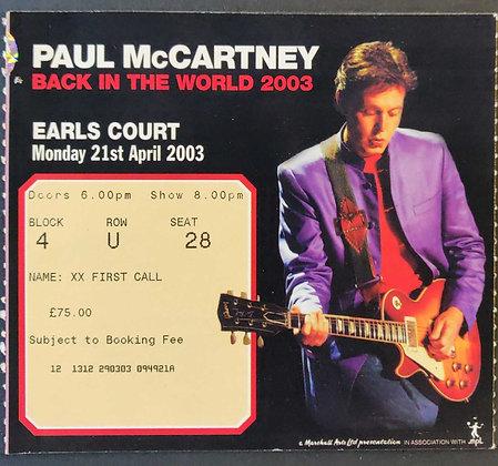 Paul McCartney Earls Court 2003 Ticket