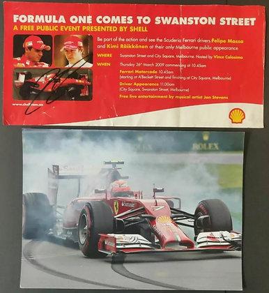 Kimi Räikkönen Signed Ferrari Promo Event Flyer from Melbourne, 2009