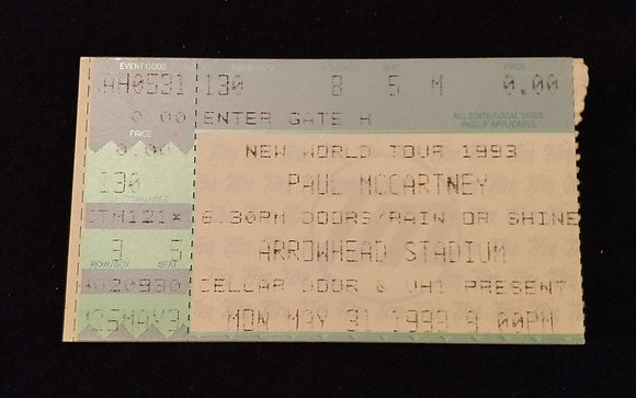 Paul McCartney 1999 Kansas City Ticket