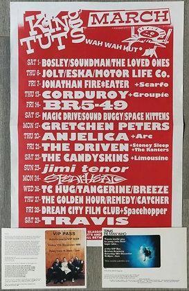 Travis Poster Glasgow King Tut's 1997 + London 1999 VIP Bar Pass Invites (X2)