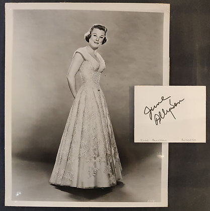 June Allyson Signed Index Card + Photo
