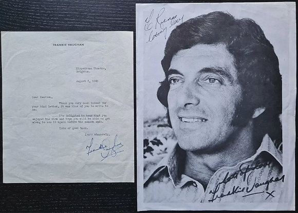 Frankie Vaughan Signed Letter on Headed Paper from 1960 + Printed Fanclub Photo