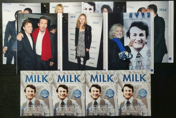 Milk (2008) Premiere/Event Press Photos (x7) + Promo Postcard (x4) - Sean Penn