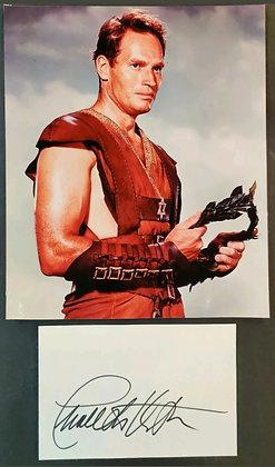Charlton Heston Signed Index Card & Photo. Ben-Hur