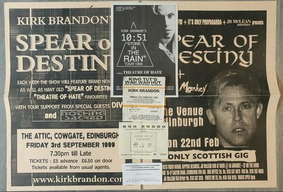 Kirk Brandon/Spear Of Destiny Edinburgh Gig Posters (x2) + Tickets, Flyer & Card