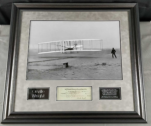 Orville Wright Signed Cheque Display
