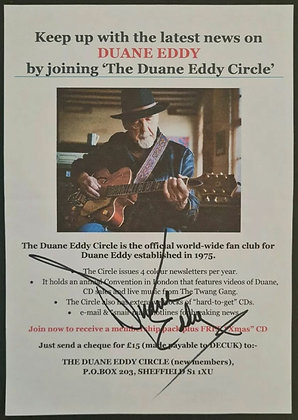 Duane Eddy Signed Fanclub Paper Handbill