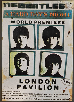 "The Beatles ""A Hard Days Night World Premiere"" Metal Sign"