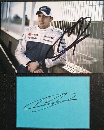 Pastor Maldonado Signed Williams F1 Team Promo Racers Card + Signed Card