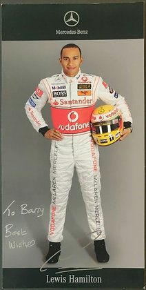 Lewis Hamilton Signed McLaren Mercedes-Benz Team Racer Card from 2007