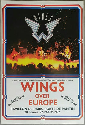 Wings Over Europe Promo Poster from Pavillion de Paris, 1976 - Paul McCartney