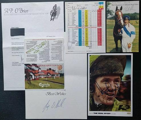 Aidan O'Brien, Bob Champion, Tony McCoy (+2 More) Signed Memorabilia/Cards (x5)