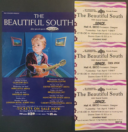 The Beautiful South UK Tour 1997 Flyer & Ticket Stubs from Glasgow (X3)