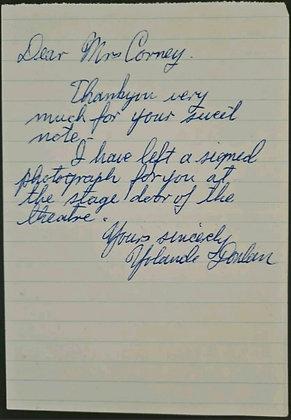 Yolande Donlan Handwritten Letter/Note - Theatre/Actress