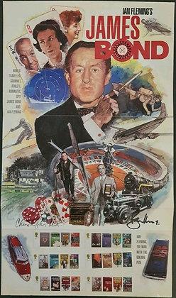Christopher Lee and Roger Moore Signed James Bond Stamp Set