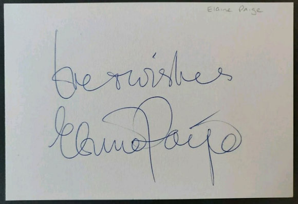 Elaine Paige Signed Index Card