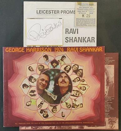 George Harrison/Ravi Shankar Tour Programme With Ravi Signed Card & Ticket