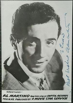 Al Martino Signed Promo Photo/Print - Movie Star Service - Capitol Records