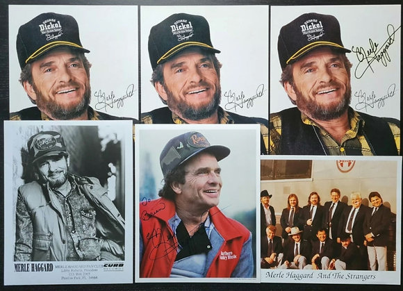 Merle Haggard Signed Promo Photos (X2) + Unsigned Promo Photos (X4)