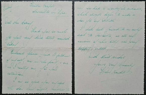 Helen Landis Handwritten Letter - Musical Theatre Singer & Actress