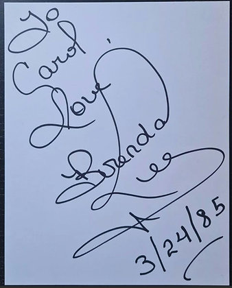 Brenda Lee Signed Card from 1985 - Country/Pop/Rockabilly Singer