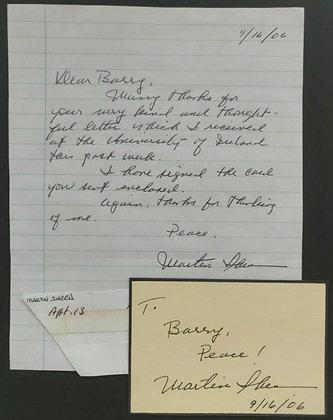 Martin Sheen Signed Index Card & Handwritten Letter