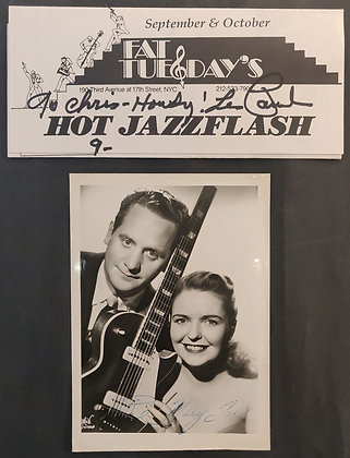 Les Paul Signed Flyer and Mary Ford Signed Photo