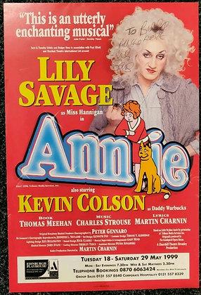 Lily Savage Signed Annie Mini-Poster Edinburgh Playhouse 1999