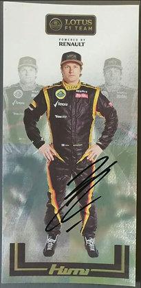 Kimi Räikkönen Signed Lotus F1 Team Promo Postcard - 2012 FIA