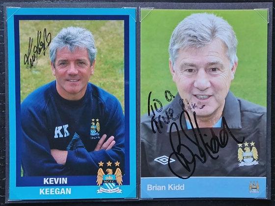 Kevin Keegan & Brian Kidd Signed & Mounted Promo Postcards (X2) - Man City FC