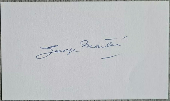 George Martin Signed Card from 2002 - AIR Studios - The Beatles