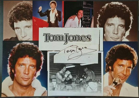 Tom Jones Signed Paper Slip + Photos (X9)