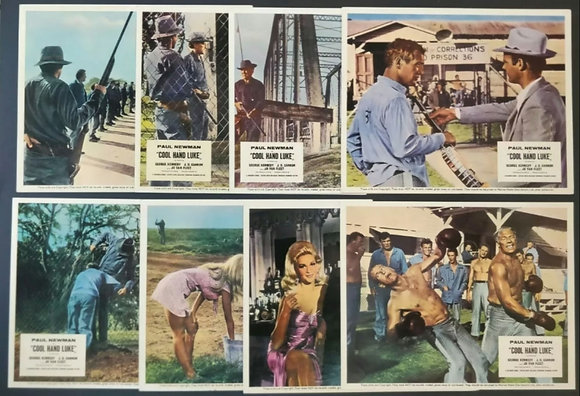 Cool Hand Luke UK Lobby Cards/FOH Cards (x8) - Paul Newman