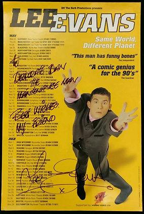 Lee Evans Signed Poster UK Tour 1996 - Same World, Different Planet