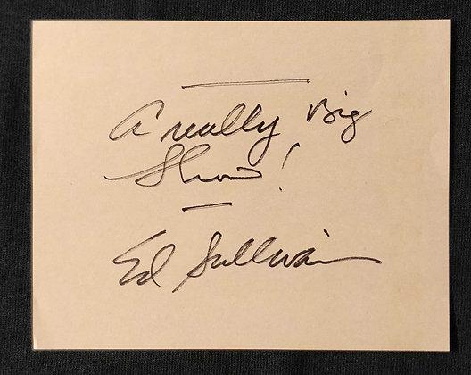 Ed Sullivan Signed Page