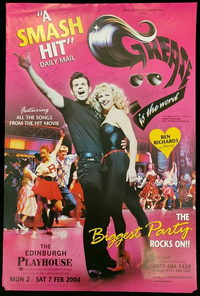 Grease Is The Word Signed Poster Edinburgh Playhouse 2004