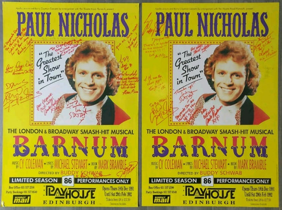 Barnum Musical Signed Posters (X2) from  Edinburgh Playhouse 1991/1992